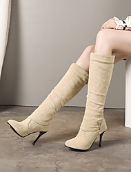 cheap -Women's Boots Knee High Boots Stiletto Heel Round Toe PU Knee High Boots Vintage / British Fall & Winter Black / Beige / Party & Evening