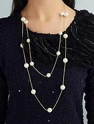 cheap -Women's Long Necklace Korean Sweet Fashion Imitation Pearl Chrome Gold Silver 70 cm Necklace Jewelry 1pc For Gift Daily Work