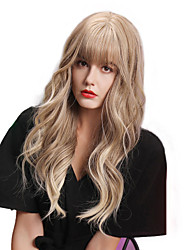 cheap -Synthetic Wig Bangs Curly Water Wave Neat Bang With Bangs Wig Blonde Ombre Long Ombre Color Synthetic Hair 24 inch Women's Life Women Synthetic Blonde Ombre HAIR CUBE / Ombre Hair