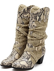 cheap -Women's Boots Block Heel Round Toe PU Mid-Calf Boots Fall & Winter Beige / Gray