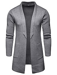 cheap -Men's Solid Colored Long Sleeve EU / US Size Cardigan Sweater Jumper, Shawl Lapel Fall Black / Gray US32 / UK32 / EU40 / US34 / UK34 / EU42 / US36 / UK36 / EU44