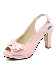 cheap -Women's Sandals Stiletto Heel Peep Toe Bowknot / Buckle PU Summer Black / White / Fuchsia / Wedding