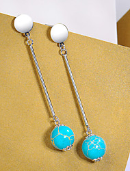 cheap -925 Sterling silver anti allergy tiny mini  turquoises 13mm girl women gift multiple minimal earringLE2707000