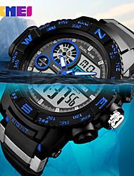 cheap -SKMEI Men's Sport Watch Military Watch Digital Watch Japanese Digital Quilted PU Leather Black 50 m Water Resistant / Waterproof Alarm Calendar / date / day Analog - Digital Casual Fashion - Black