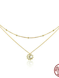 cheap -Women's AAA Cubic Zirconia Pendant Necklace Classic Vintage Korean Fashion S925 Sterling Silver Gold 45 cm Necklace Jewelry 1pc For Daily