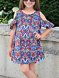 cheap -Kids Girls' Basic Geometric Short Sleeve Knee-length Dress Purple