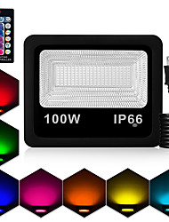cheap -1pc 100 W LED Floodlight Waterproof / Remote Controlled / Dimmable RGB 85-265 V Courtyard / Garden 180 LED Beads