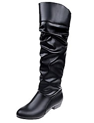 cheap -Women's Boots Knee High Boots Low Heel Round Toe PU Knee High Boots Winter Black / Brown / White
