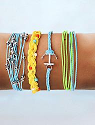cheap -4pcs Women's Blue Orange White Wrap Bracelet Vintage Bracelet Earrings / Bracelet Layered Weave Anchor Vintage Ethnic Fashion Boho Colorful Cord Bracelet Jewelry Rainbow For Daily School Street