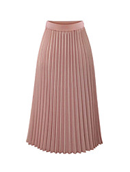 cheap -Women's Basic A Line Skirts - Solid Colored Pleated / Chiffon Black White Blushing Pink S M L / Loose