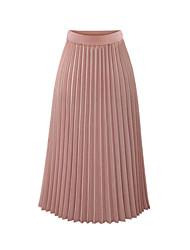 cheap -Women's Basic Skirts Solid Colored Chiffon Pleated White Black Blushing Pink