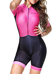 cheap -BOESTALK Women's Short Sleeve Triathlon Tri Suit Pink / Black Bike Breathable Moisture Wicking Quick Dry Anatomic Design Back Pocket Sports Spandex Graphic Mountain Bike MTB Road Bike Cycling