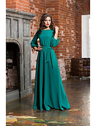 cheap -A-Line Jewel Neck Sweep / Brush Train Satin Empire / Turquoise / Teal Formal Evening / Wedding Guest Dress with Bow(s) / Sash / Ribbon 2020