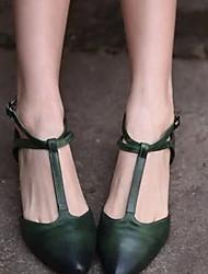 cheap -Women's Flats Flat Heel Pointed Toe Buckle PU(Polyurethane) Summer Green / Almond
