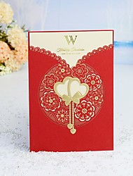 """cheap -Wrap & Pocket Wedding Invitations 30pcs - Invitation Cards / Thank You Cards / Response Cards Heart / Modern Style / Fairytale Theme Pearl Paper 5""""×7 ¼"""" (12.7*18.4cm)"""