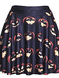 cheap -Women's Halloween Basic Plus Size A Line Skirts - Geometric Print Navy Blue S M L
