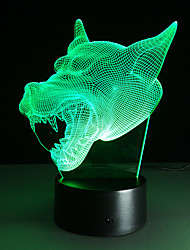 cheap -Cool Wolf Head 3D 7 Colors Gradient Change Night Light USB Led Desk Table Illusion Lamp Child Kids Room Home bar Decoration