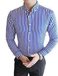 cheap -Men's Daily Casual / Daily Basic Shirt - Striped Black