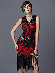 cheap -The Great Gatsby Charleston 1920s Roaring Twenties Roaring 20s Flapper Dress Party Costume Masquerade Cocktail Dress Women's Sequins Tassel Spandex Costume Red Vintage Cosplay Party Prom Sleeveless