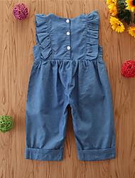 abordables -bébé Fille Basique Couleur Pleine Ensemble & Combinaison Bleu