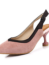 cheap -Women's Sandals Stiletto Heel Pointed Toe Bowknot Suede Minimalism Spring &  Fall Black / Almond / Pink / Party & Evening