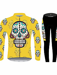 cheap -21Grams Sugar Skull Men's Long Sleeve Cycling Jersey with Tights - Black / Yellow Bike Clothing Suit Windproof UV Resistant Breathable Sports Winter Fleece 100% Polyester Mountain Bike MTB Clothing