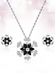 cheap -Women's Stud Earrings Pendant Necklace 3D Flower Snowflake Stylish Unique Design Resin Platinum Plated Earrings Jewelry Silver For Daily Work 1 set