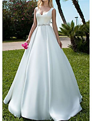 cheap -A-Line V Neck Sweep / Brush Train Satin Spaghetti Strap Formal Backless Made-To-Measure Wedding Dresses with Buttons / Sashes / Ribbons 2020