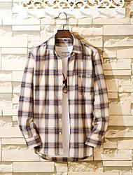 cheap -Men's Daily Basic Shirt - Color Block Blue & White / Black & White, Ruffle / Print Black
