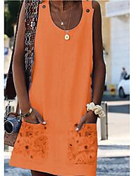 cheap -Women's Basic A Line Dress - Floral Print White Orange Yellow S M L XL