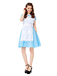 cheap -Maid Costume Cosplay Costume Masquerade Adults' Women's Cosplay Halloween Halloween Festival / Holiday Cotton / Polyester Blend Pale Blue Women's Carnival Costumes