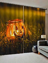 abordables -3d digtal impression blackout fenêtre rideaux sur mesure prêt pour le salon heureux halloween citrouilles lanternes sur la pelouse fond rideau