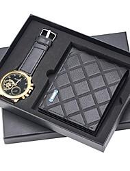 cheap -Men's Dress Watch Quartz Leather Black No Chronograph Creative New Design Analog New Arrival Fashion - Black Golden+Black Black / Rose Gold One Year Battery Life