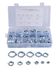 cheap -128pcs/set 5-31MM 11 Kinds Double Ear O Hose Clips Clamps Steel Zinc Plated Assortment for Hydraulic Hose Fuel Models  A1803