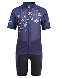 cheap -Nuckily Novelty Funny Clown Boys' Girls' Short Sleeve Cycling Jersey with Shorts - Kid's Dark Navy Bike Clothing Suit Breathable Moisture Wicking Quick Dry Sports Spandex Chinlon Mountain Bike MTB