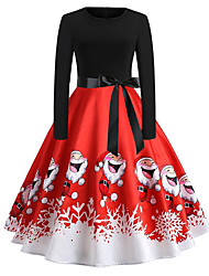 cheap -Women's Purple Red Dress Elegant Christmas Party A Line Snowflake S M Skinny