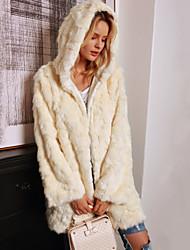 cheap -Long Sleeve Coats / Jackets Faux Fur Wedding Women's Wrap With Cap / Solid