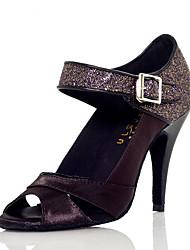 cheap -Women's Latin Shoes Heel Glitter Splicing Slim High Heel Black Ankle Strap Sparkling Shoes
