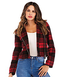 cheap -Women's Daily Fall & Winter Short Jacket, Plaid Rolled collar Long Sleeve Polyester Red