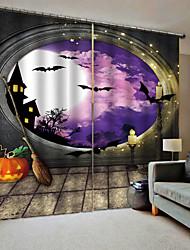 Недорогие -Новый тайский 3d цифровая печать хэллоуин фиолетовый небо тыква фон шторы утолщение плотные шторы для спальни / гостиной