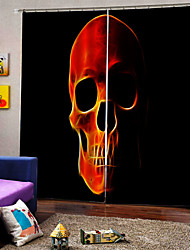 cheap -New Horror Skull 3D Digital Printing Curtains Blackout Fabric Curtain for Living Room Bedroom Decoration Curtain Ready Made