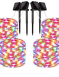cheap -20m String Lights Outdoor String Lights 200 LEDs 1Set Mounting Bracket 4pcs Warm White RGB White Waterproof Solar Creative Solar Powered Cuttable