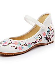 cheap -Women's Flats Flat Heel Round Toe Canvas Summer White / Red / Blue
