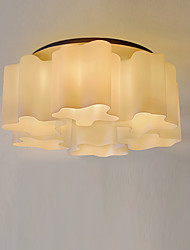 cheap -6-Light Ceiling Lamp Modern Simple Chandeliers 6 Lights White Glass Shade Simplicity Pendant Light Round for Living Room Flush Mount