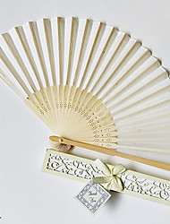 cheap -4pcs Solid Color Bamboo Folding Hand Fans Wedding Favours Wedding Supplies Gift 22cm Long