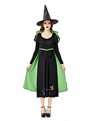 cheap -Witch Cosplay Costume Masquerade Adults' Women's Cosplay Halloween Halloween Festival / Holiday Silk Fabric Oxford Green Women's Carnival Costumes