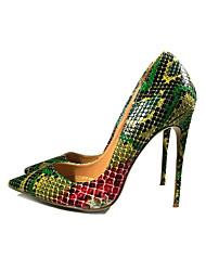 cheap -Women's Heels Stiletto Heel Pointed Toe PU(Polyurethane) Minimalism Spring &  Fall Dark Green / Brown