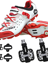 cheap -SIDEBIKE Adults' Cycling Shoes With Pedals & Cleats Mountain Bike Shoes Nylon Breathable Anti-Slip Cushioning Cycling Red and White Men's Cycling Shoes / Autolock / Synthetic Microfiber PU