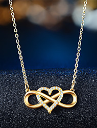 cheap -Women's Pendant Necklace Infinity Heart Infinity Elegant Trendy Zircon Chrome Rose Gold Gold Silver 45 cm Necklace Jewelry 1pc For Gift