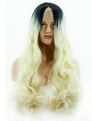 cheap -Synthetic Lace Front Wig Matte Water Wave Deep Parting Lace Front Wig Blonde Very Long Black / Gold Synthetic Hair 14-24 inch Women's Classic Sexy Lady Color Gradient Blonde